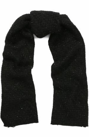 Вязаный шарф из кашемира с металлизированной нитью Johnstons Of Elgin. Цвет: черный