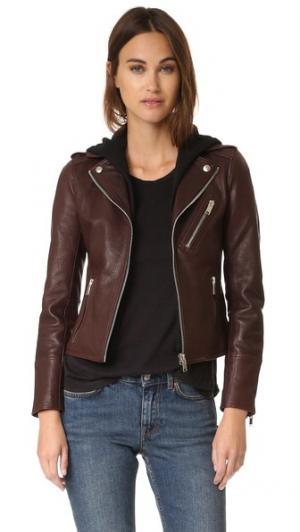 Байкерская куртка со съемным капюшоном Doma. Цвет: borgogna