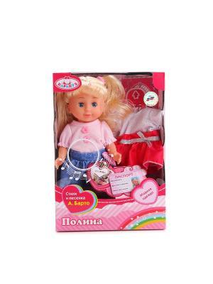 Кукла Полина 25см, озвученная с набором одежды. Карапуз. Цвет: синий, бледно-розовый