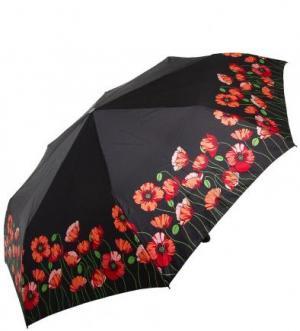 Складной зонт с цветочным принтом Doppler. Цвет: черный