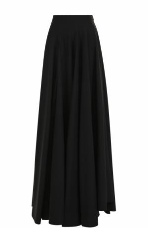 Однотонная шерстяная юбка-макси Alaia. Цвет: черный