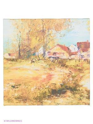 Art Холст Осень в деревне DECORETTO. Цвет: зеленый, голубой, бежевый