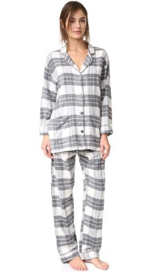 Пижама в клетку PJ Salvage. Цвет: коричневый