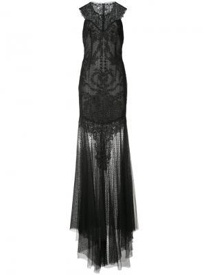 Прозрачное платье с декором Monique Lhuillier. Цвет: чёрный