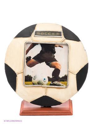 Фоторамка Футбольный мяч 11х11см PLATINUM quality. Цвет: белый, черный, коричневый