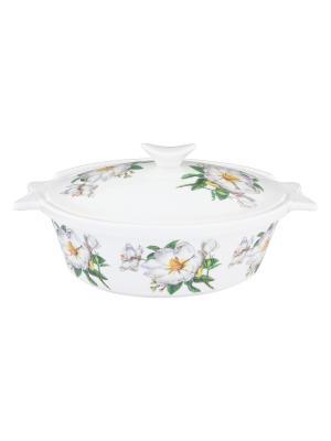 Блюдо для запекания Белый шиповник Elan Gallery. Цвет: белый, зеленый