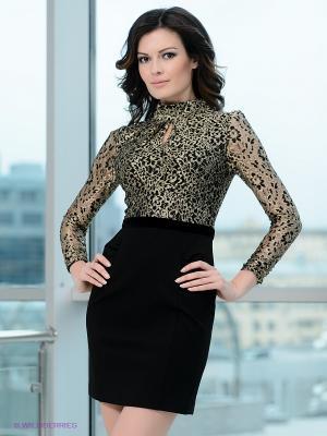 Платье EZANNA. Цвет: черный, золотистый