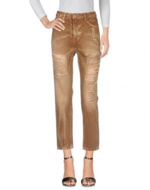 Джинсовые брюки KONTATTO. Цвет: хаки