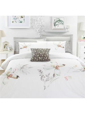 Комплект постельного белья Delux Евро Fluid Mona Liza. Цвет: бежевый, белый