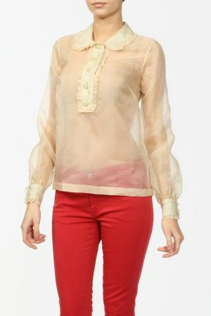Блуза ORLA KIELY. Цвет: бежевый, органза