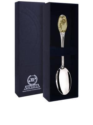 Ложка чайная частично позолоченная с логотипом Водолей+футляр АргентА. Цвет: золотистый, серебристый