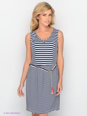 Платье Lisa Campione. Цвет: темно-синий, белый, красный