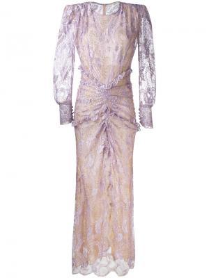 Длинное кружевное платье с длинными рукавами Alessandra Rich. Цвет: розовый и фиолетовый