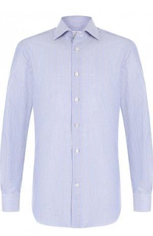 Рубашка из смеси хлопка и льна Kiton. Цвет: синий