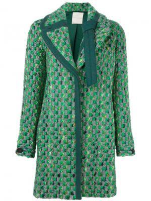 Твидовое пальто Marco De Vincenzo. Цвет: зелёный
