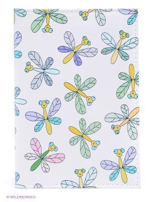 Обложка для автодокументов Цветные стрекозы Mitya Veselkov. Цвет: белый, зеленый