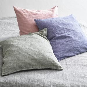 Наволочка из осветленного льна шамбре, Elina chambray AM.PM.. Цвет: розовый,серо-синий,серый,хаки