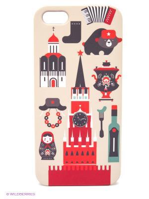 Чехол для IPhone 5 Из России с любовью! Mitya Veselkov. Цвет: бежевый, красный