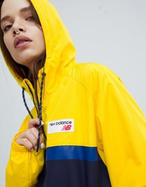 New Balance Желтая ветровка колор блок. Цвет: желтый