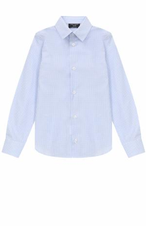 Хлопковая рубашка в клетку прямого кроя Dal Lago. Цвет: светло-голубой