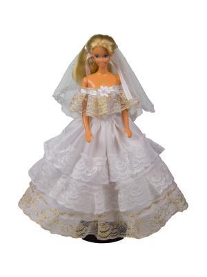 Свадебное платье из шелка с фатой для куклы 29 см Модница.. Цвет: золотистый, белый