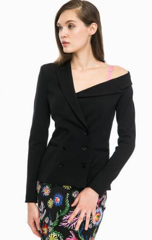 Двубортный пиджак с открытым плечом Pinko. Цвет: черный