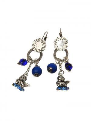 Серьги Ангелы и синие бусины Chocopony. Цвет: серебристый, синий