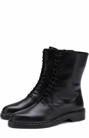 Кожаные ботинки на шнуровке The Row. Цвет: черный