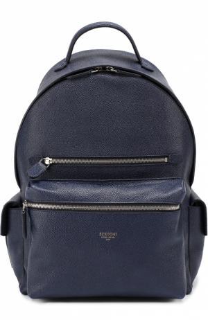 Рюкзак из зерненой кожи Bertoni. Цвет: темно-синий