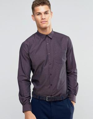 Silver Eight Строгая бордовая рубашка добби узкого кроя Sliver. Цвет: красный