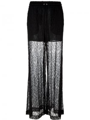 Кружевные широкие брюки McQ Alexander McQueen. Цвет: чёрный