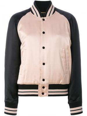 Куртка-бомбер с контрастными полосками Saint Laurent. Цвет: розовый и фиолетовый