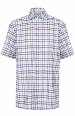 Хлопковая рубашка с короткими рукавами Brioni. Цвет: голубой
