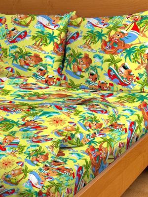 Комплект в кроватку Ясли BGR-46, бязь, простыня на резинке Letto. Цвет: желтый