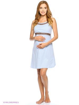 Ночная сорочка для беременных и кормящих FEST. Цвет: голубой