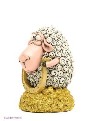 Статуэтка Овца Подкова на Счастье The Comical World of Stratford. Цвет: золотистый, белый, розовый