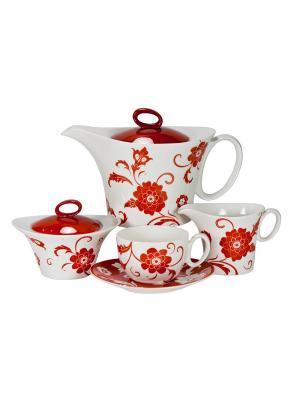 Сервиз чайный 17пр. на 6 персон Амата Красный Royal Porcelain. Цвет: молочный