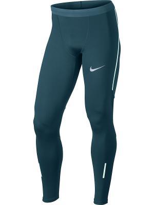 Тайтсы M NK PWR TECH TGHT Nike. Цвет: синий, зеленый