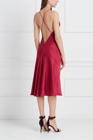 Шелковая ночная сорочка Remy Olivia von Halle. Цвет: малиновый