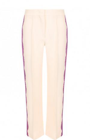 Укороченные брюки со стрелками и кружевной отделкой Emilio Pucci. Цвет: бежевый