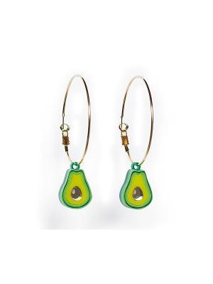 Серьги-кольца Авокадо НечегоНадеть. Цвет: зеленый, желтый, золотистый