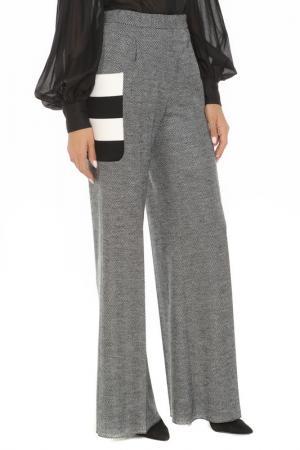 Расклешенные брюки со вставками SPORTMAX. Цвет: серый