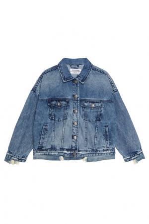 Джинсовая куртка с выбеленным эффектом One Teaspoon. Цвет: голубая