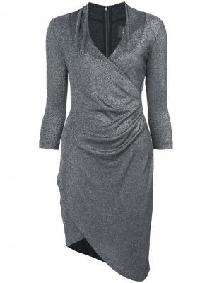 Асимметричное платье с V-образным вырезом Nicole Miller. Цвет: металлический