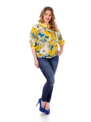 Блузка Liza Fashion. Цвет: желтый