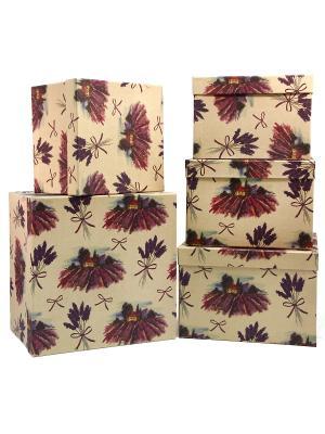 Коробка картонная, набор из 5 Лавандовые просторы VELD-CO. Цвет: хаки, темно-серый, бледно-розовый