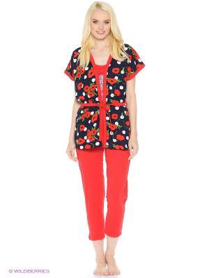 Комплект домашней одежды (халат, майка, бриджи) HomeLike. Цвет: красный, темно-синий