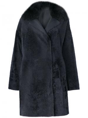 Vintage fur trim coat Guy Laroche. Цвет: серый