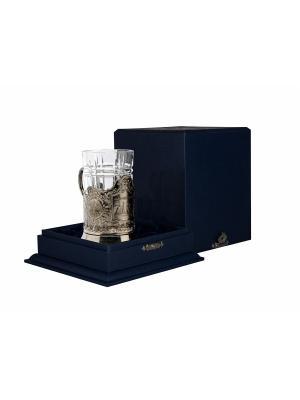Набор для чая никелированный с чернением Санкт Петербург (подстаканник + стакан футляр) Кольчугинъ. Цвет: серебристый