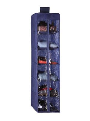 Кофр для одежды подвесной с молнией, 6 полок NIKLEN. Цвет: синий